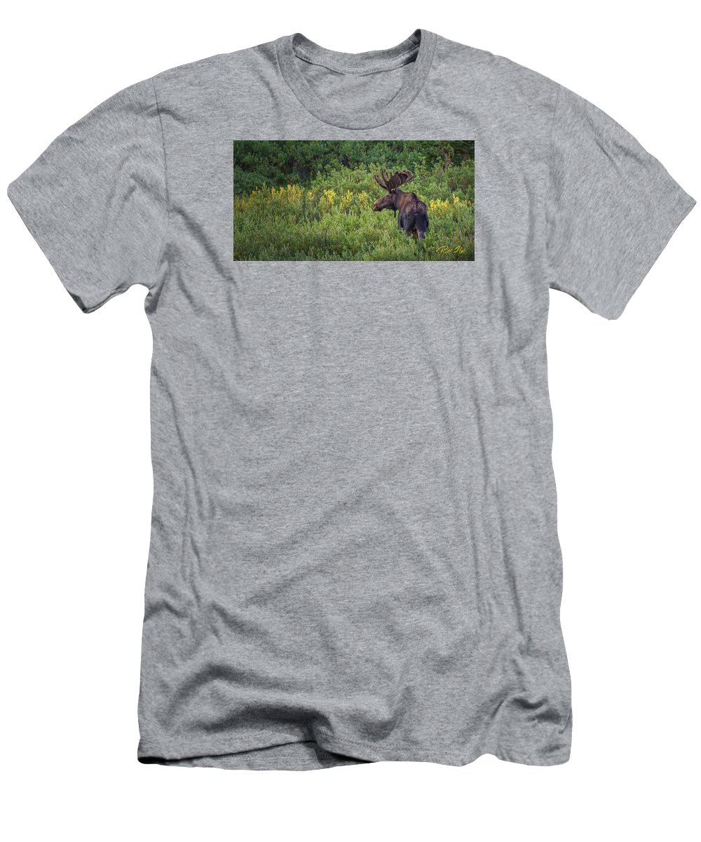 Animals Men's T-Shirt (Athletic Fit) featuring the photograph Mountain Moose by Rikk Flohr