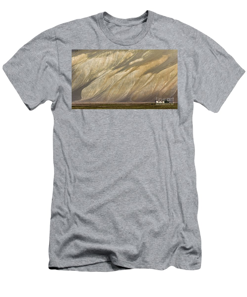 Mountain Men's T-Shirt (Athletic Fit) featuring the photograph Mountain Patterns, Padum, 2006 by Hitendra SINKAR
