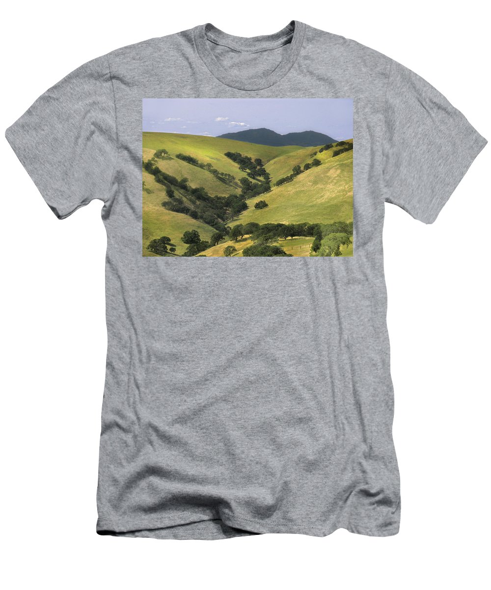 Landscapes Men's T-Shirt (Athletic Fit) featuring the photograph Mt. Dibalo by Karen W Meyer