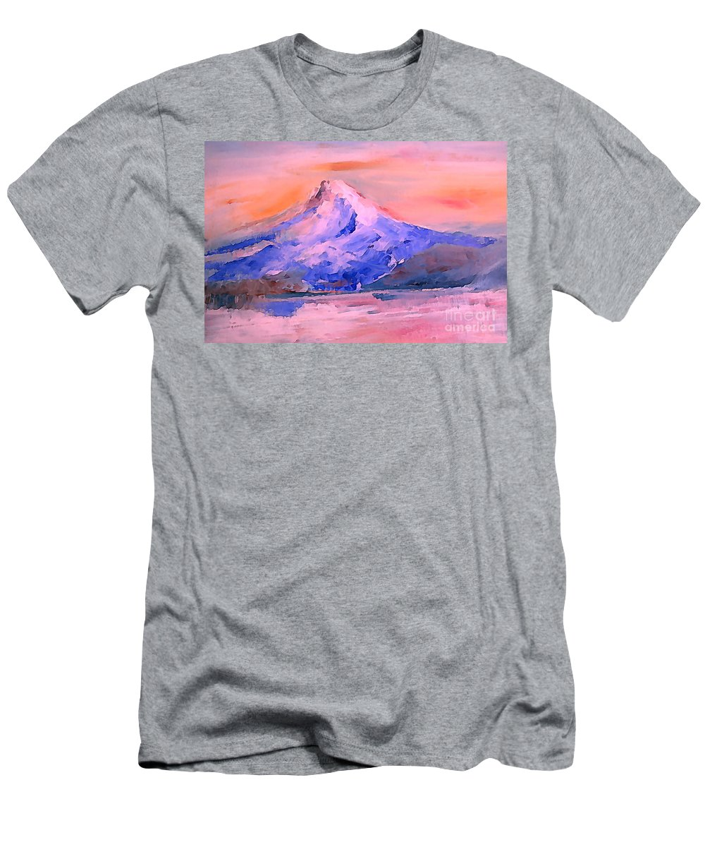 Landscape Men's T-Shirt (Athletic Fit) featuring the painting Mt Hood 04 by Pusita Gibbs