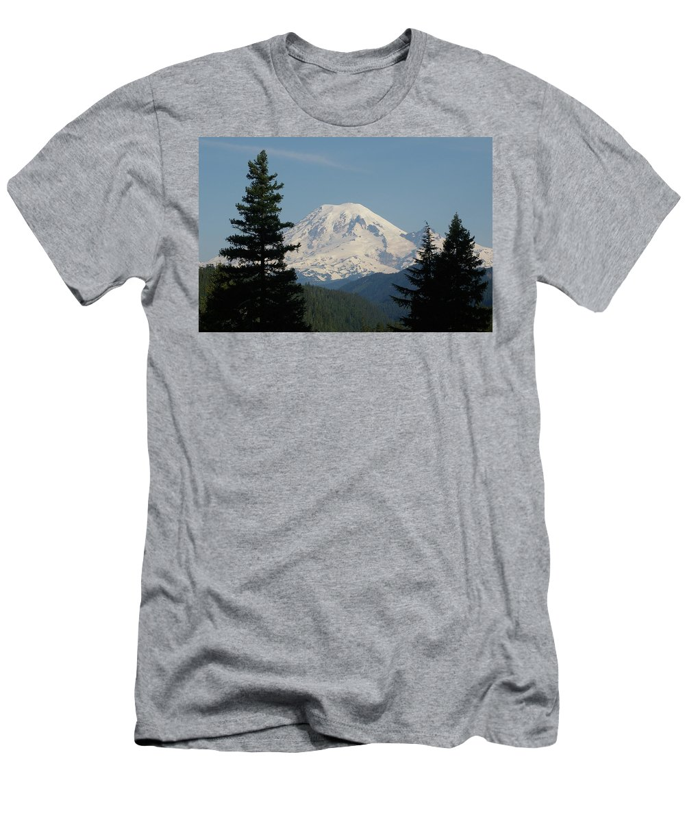 Mt Rainer Men's T-Shirt (Athletic Fit) featuring the photograph Mt Rainer From The Hills In Packwood Wa by Jeff Swan