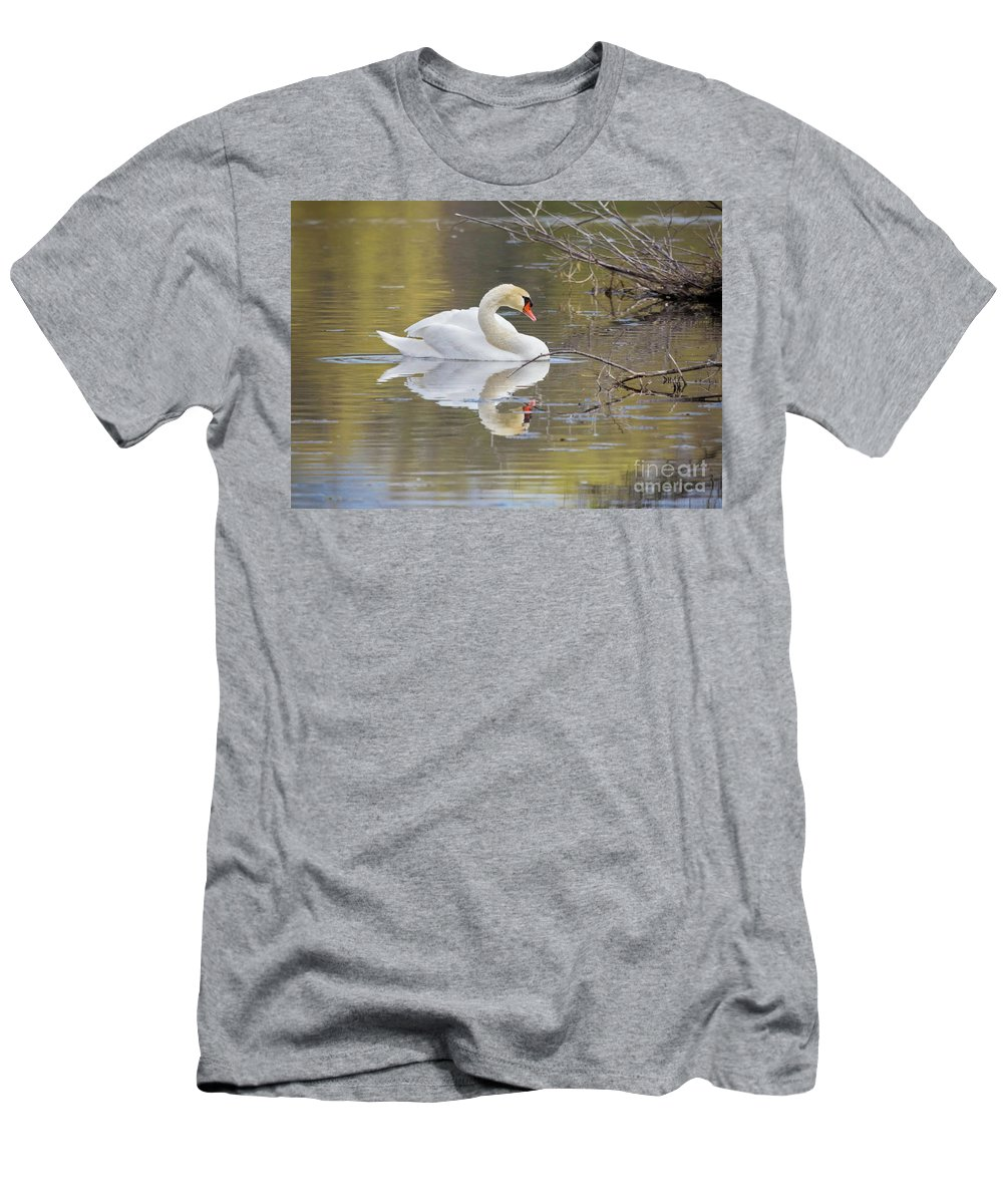 Mute Swans Men's T-Shirt (Athletic Fit) featuring the photograph Mute Swan Reflection I by Karen Jorstad