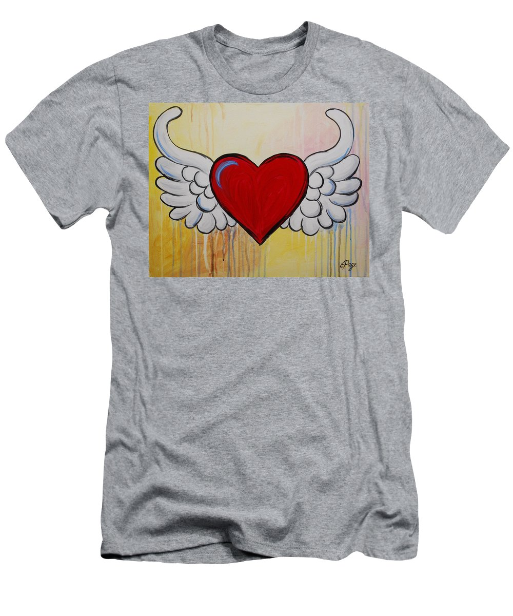 Heart Men's T-Shirt (Athletic Fit) featuring the painting My Heart Has Wings by Emily Page