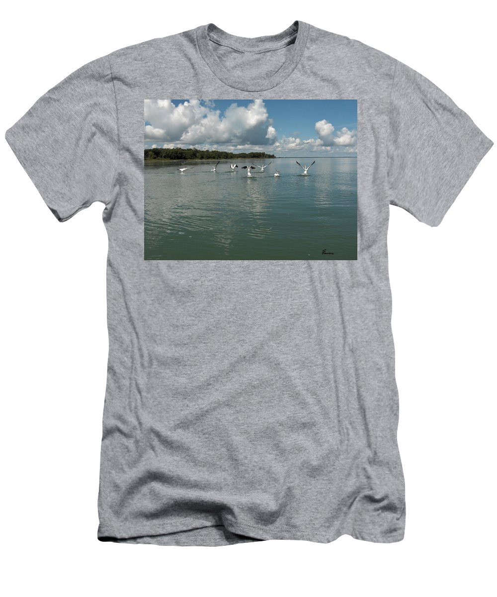 Pelicans Lake Water Trees Shore Beach Clouds Birds Water Foul Men's T-Shirt (Athletic Fit) featuring the photograph My Pelicans by Andrea Lawrence
