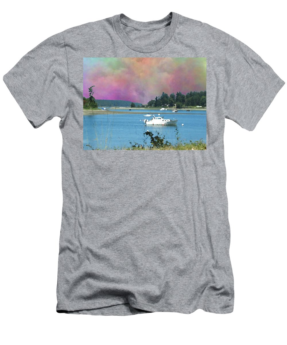 Mystery Bay Men's T-Shirt (Athletic Fit) featuring the digital art Mystery Bay by Tim Allen