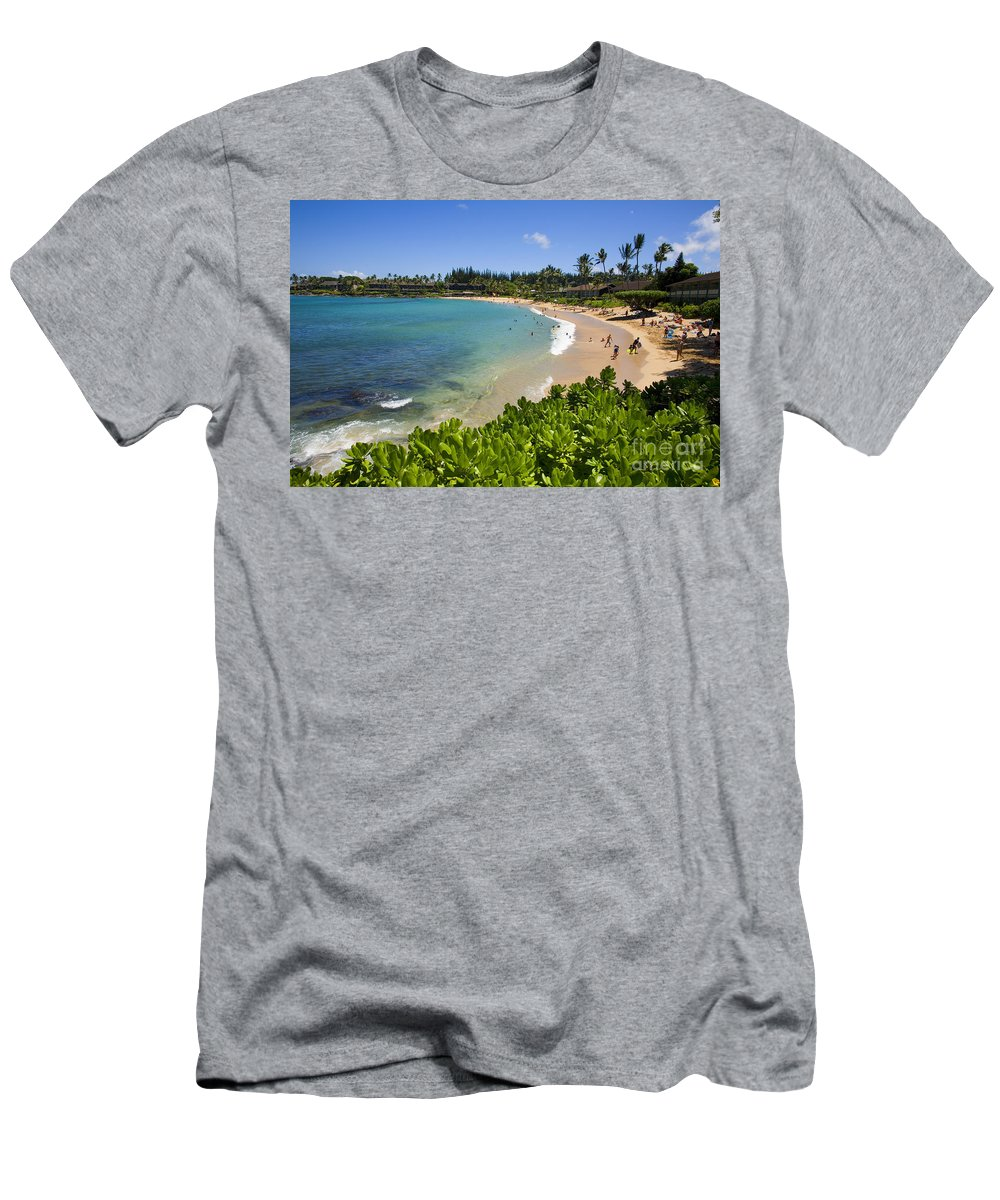 Bay Men's T-Shirt (Athletic Fit) featuring the photograph Napili Bay With Visitors by Ron Dahlquist - Printscapes