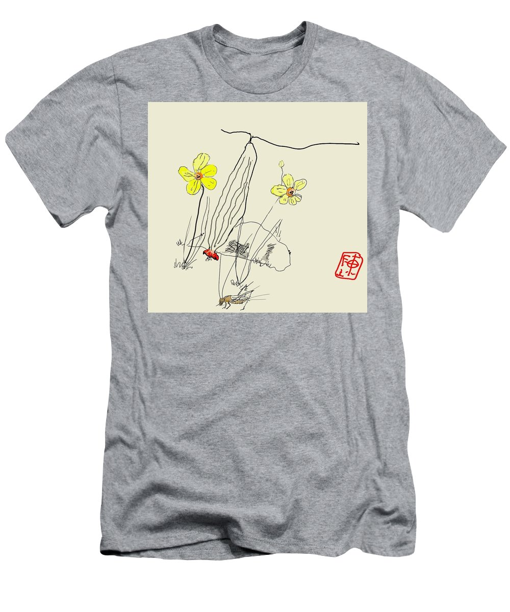 Garden. Narcissus. Squash. Cricket Men's T-Shirt (Athletic Fit) featuring the digital art Narcissus With Cricket by Debbi Saccomanno Chan