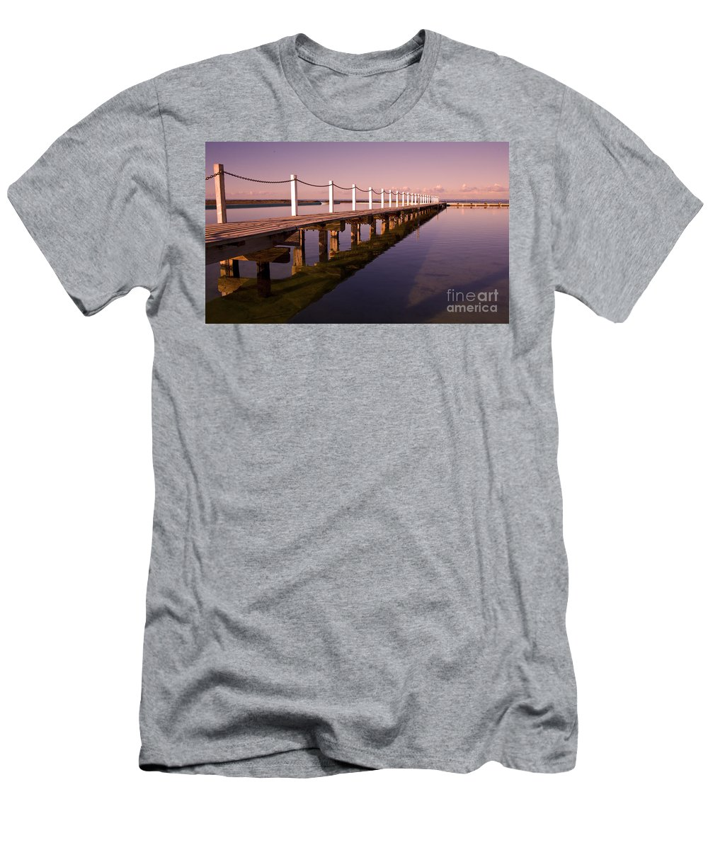 Narrabeen Sydney Sunrise Wharf Walkway Men's T-Shirt (Athletic Fit) featuring the photograph Narrabeen Sunrise by Sheila Smart Fine Art Photography