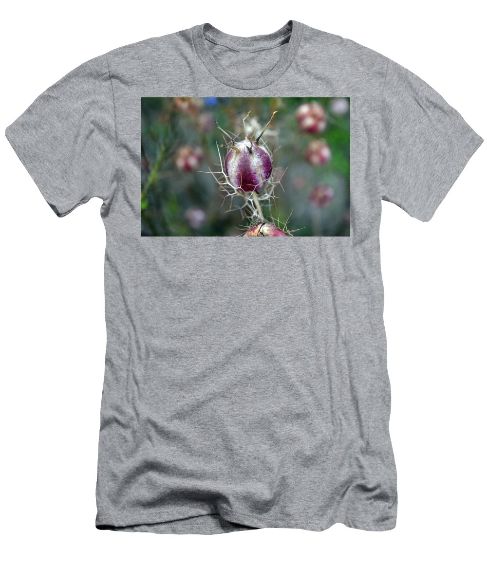 Cirsium Men's T-Shirt (Athletic Fit) featuring the photograph Natural Background With Purple Spiky Bulbs. by Oana Unciuleanu