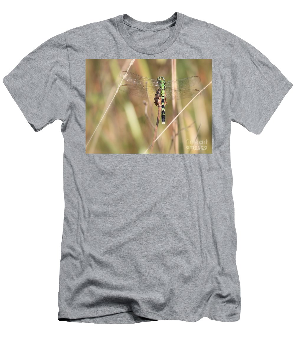 Green Dragonfly Men's T-Shirt (Athletic Fit) featuring the photograph Natural Canvas With Dragonfly by Carol Groenen