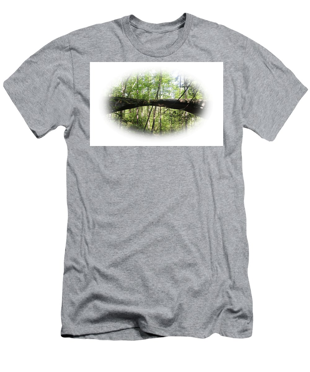 Mtns Men's T-Shirt (Athletic Fit) featuring the photograph Natural Rock Bridge by Mike Fairchild