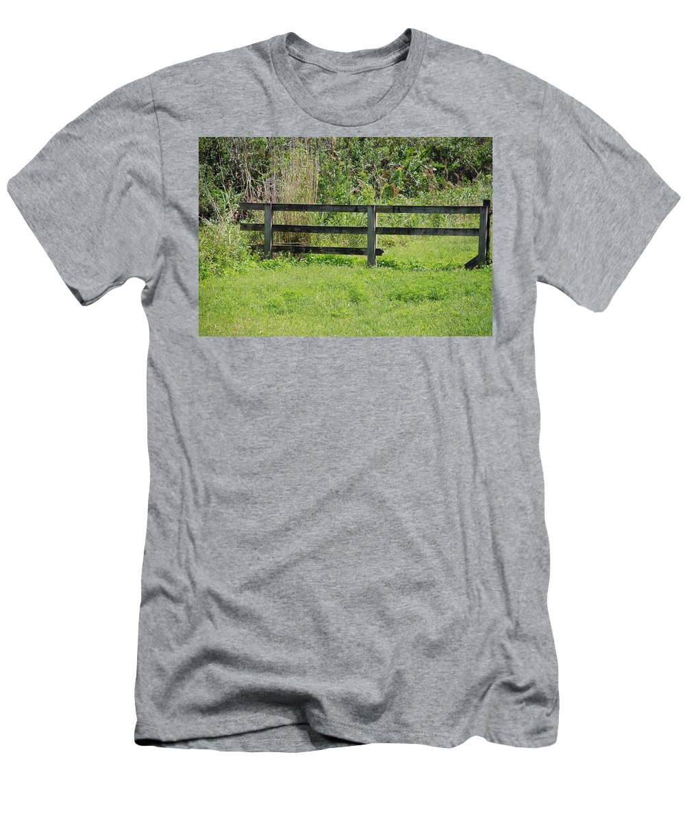 Fence Men's T-Shirt (Athletic Fit) featuring the photograph Natures Fence by Rob Hans