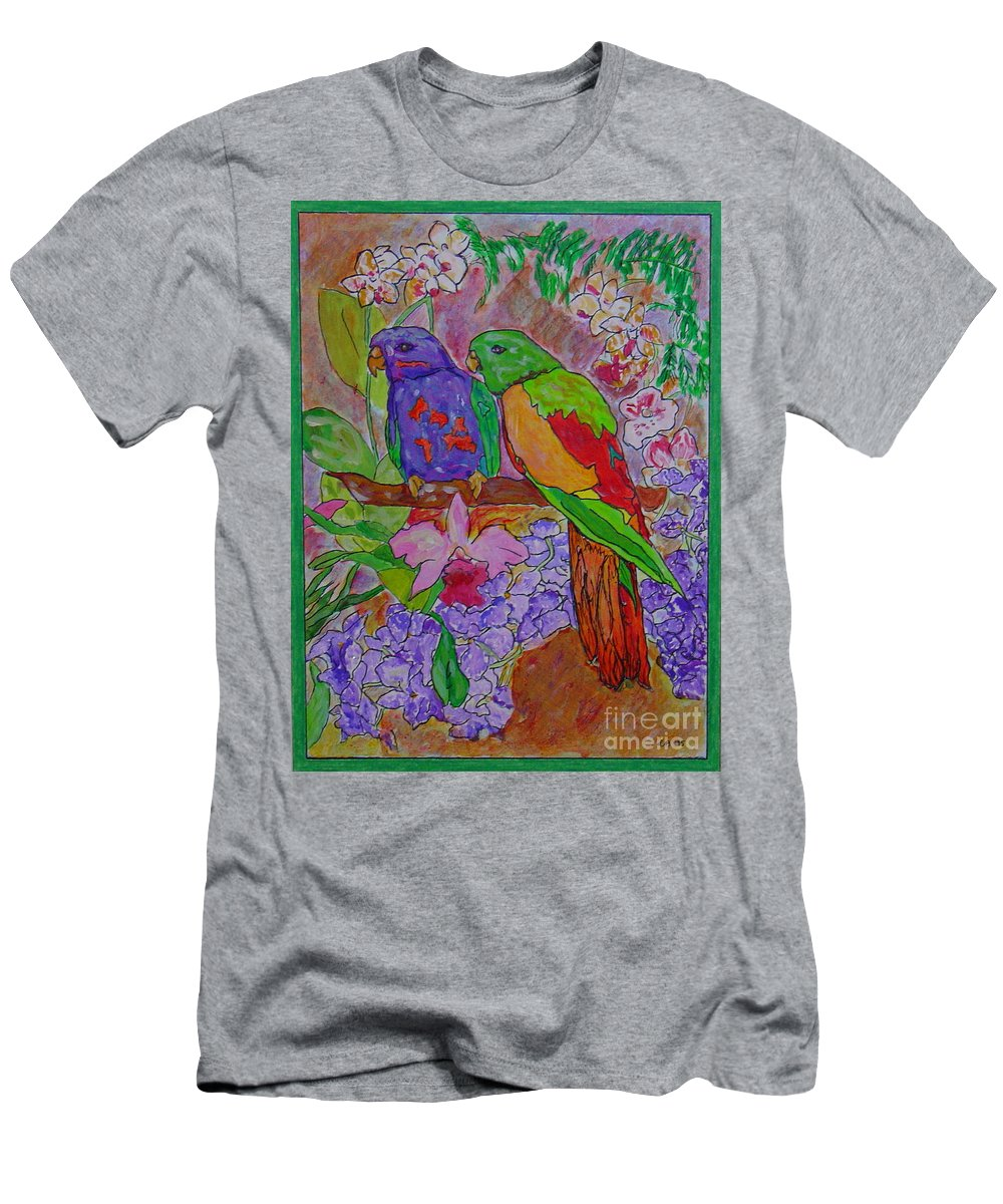 Tropical Pair Birds Parrots Original Illustration Leilaatkinson Men's T-Shirt (Athletic Fit) featuring the painting Nesting by Leila Atkinson