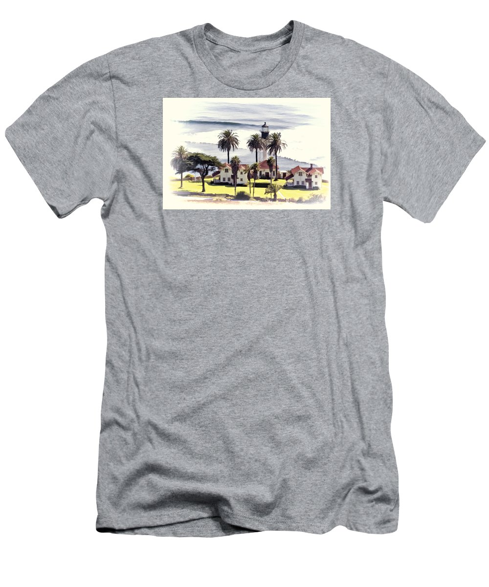 San Diego Men's T-Shirt (Athletic Fit) featuring the photograph New Point Loma Lighthouse by Claude LeTien