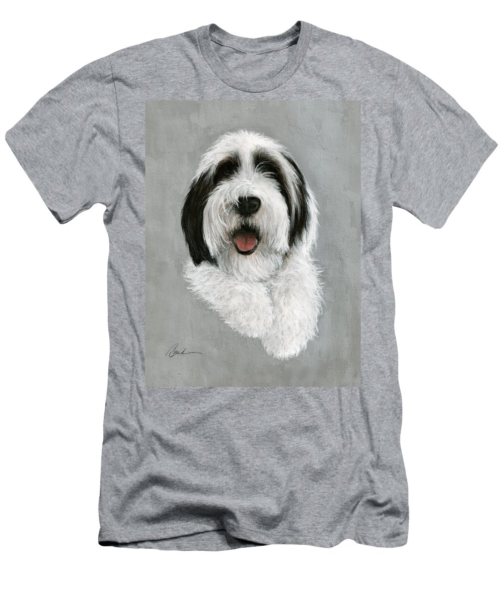 Dog Art Bruce Lennon Art Men's T-Shirt (Athletic Fit) featuring the painting New Pup by Bruce Lennon