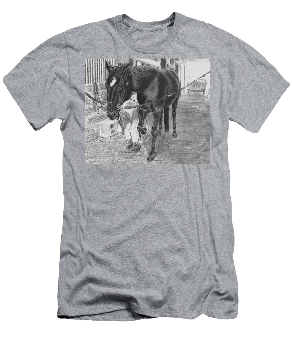 Horse Men's T-Shirt (Athletic Fit) featuring the drawing New Shoes by Quwatha Valentine