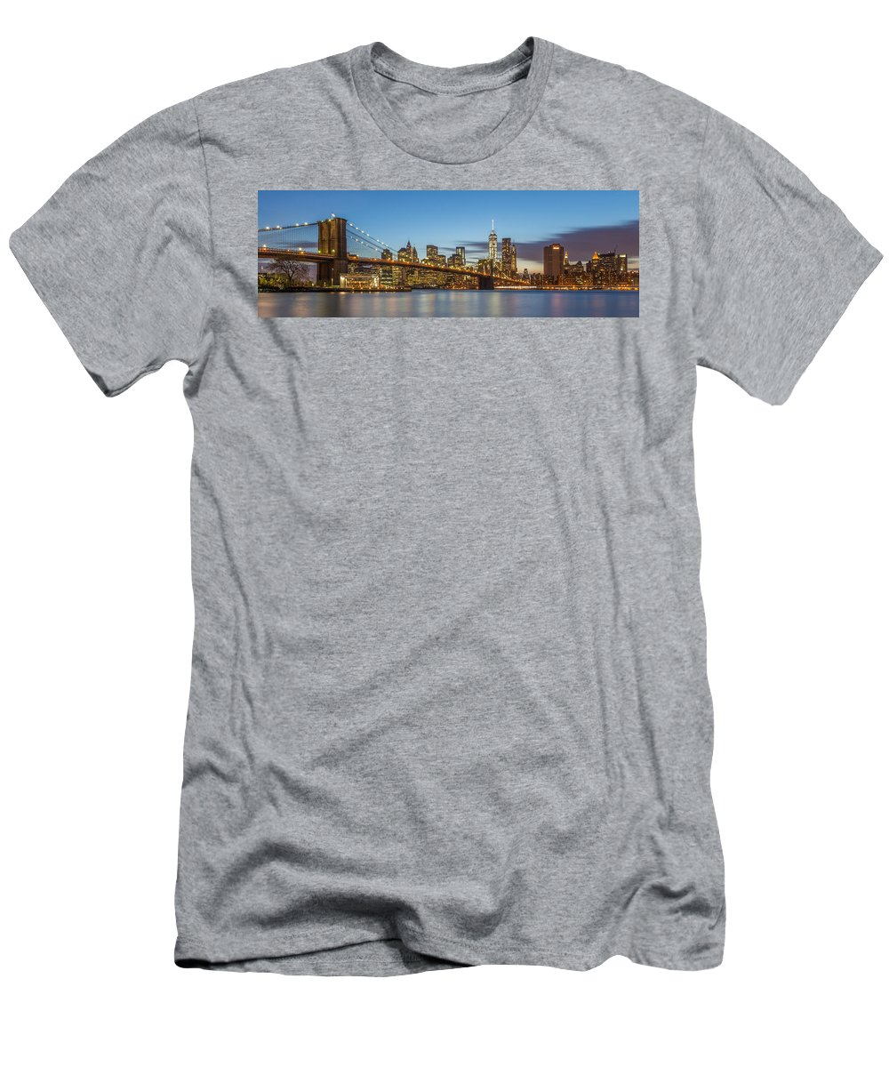 Architecture Men's T-Shirt (Athletic Fit) featuring the photograph New York Skyline - Brooklyn Bridge Panorama by Christian Tuk