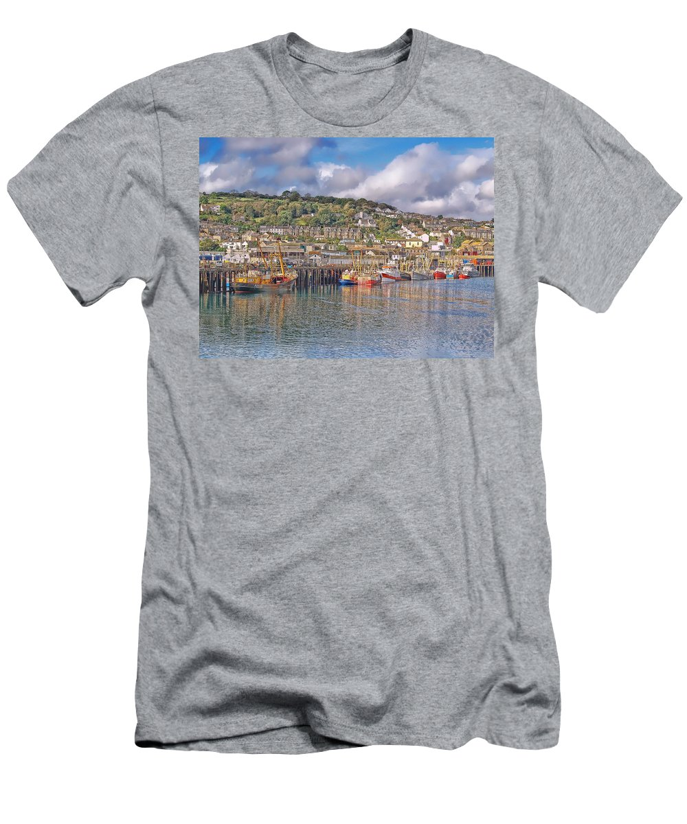 Newlyn Harbour Men's T-Shirt (Athletic Fit) featuring the photograph Newlyn Harbour Cornwall 2 by Chris Thaxter
