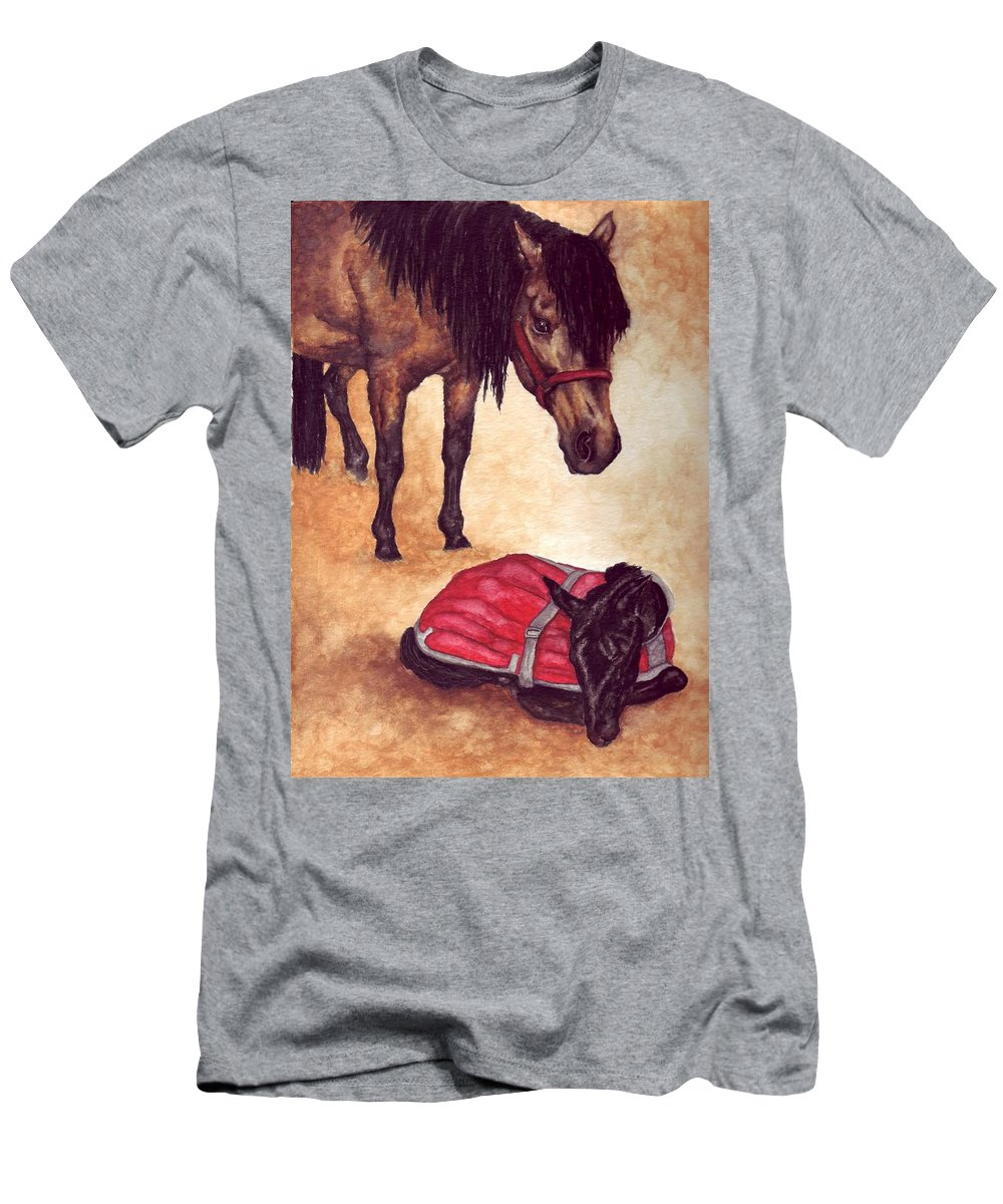 Horse Men's T-Shirt (Athletic Fit) featuring the painting Nifty And Hannah by Kristen Wesch