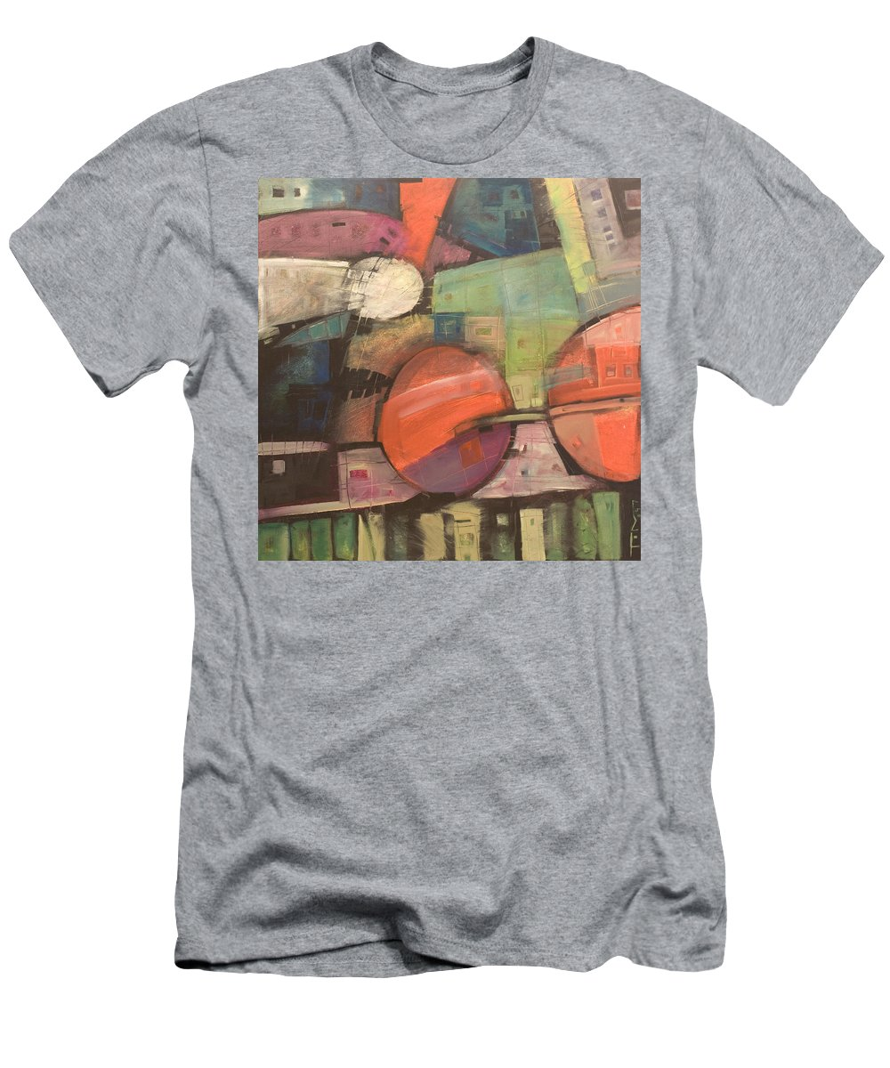 Train Men's T-Shirt (Athletic Fit) featuring the painting Night Train by Tim Nyberg