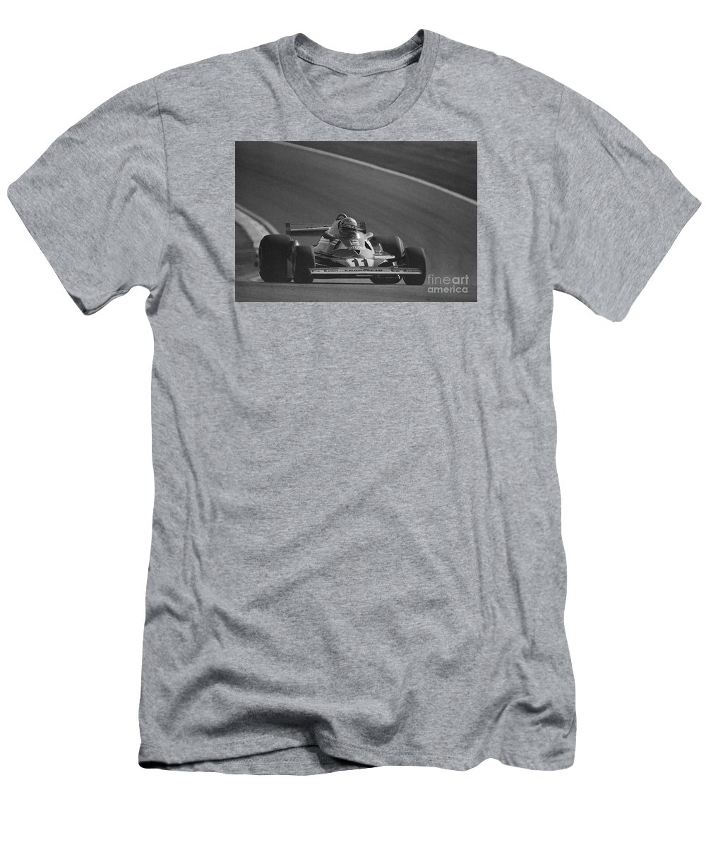 Niki Lauda Men's T-Shirt (Athletic Fit) featuring the photograph Niki Lauda. 1977 French Grand Prix by Oleg Konin