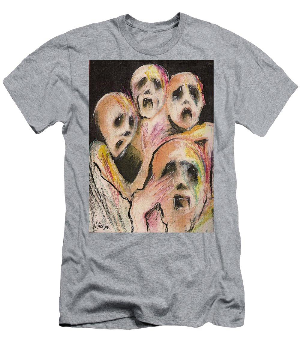 War Cry Tears Horror Fear Darkness Men's T-Shirt (Athletic Fit) featuring the mixed media No Words by Veronica Jackson
