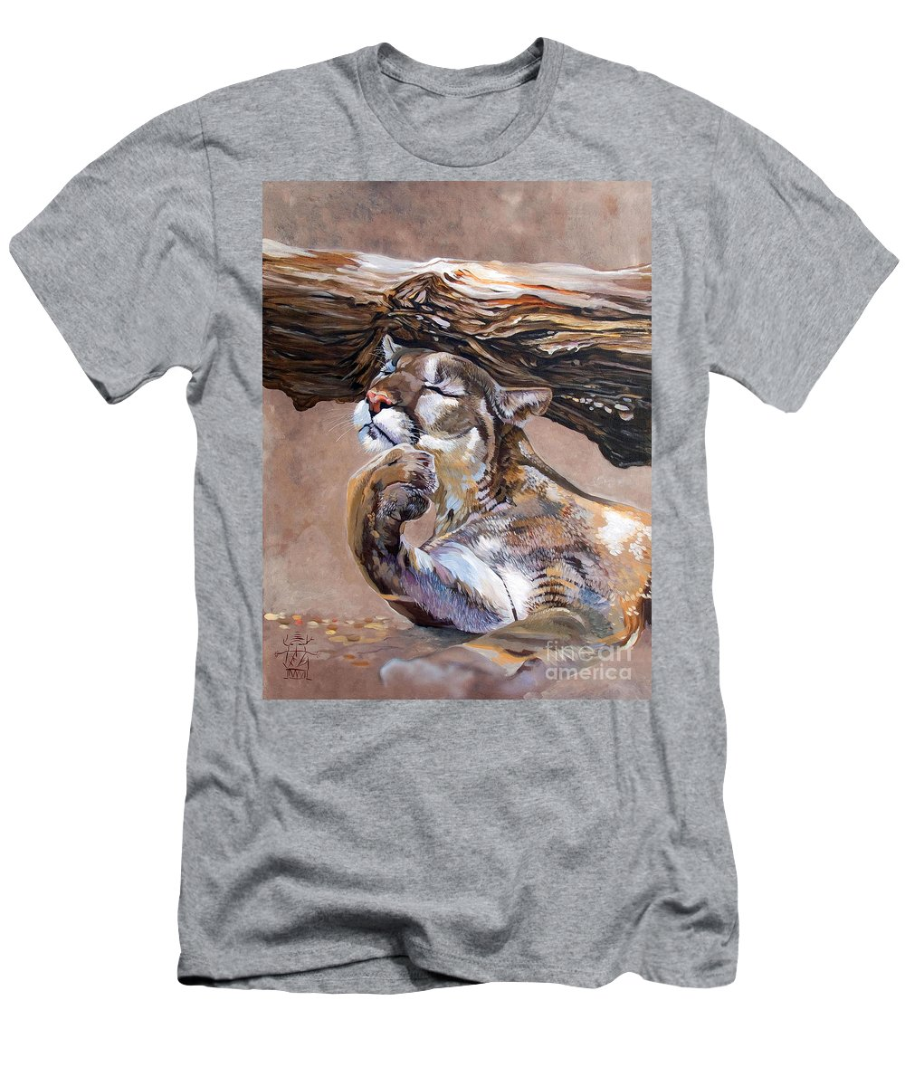 Catamount Men's T-Shirt (Athletic Fit) featuring the painting Nonchalant by J W Baker