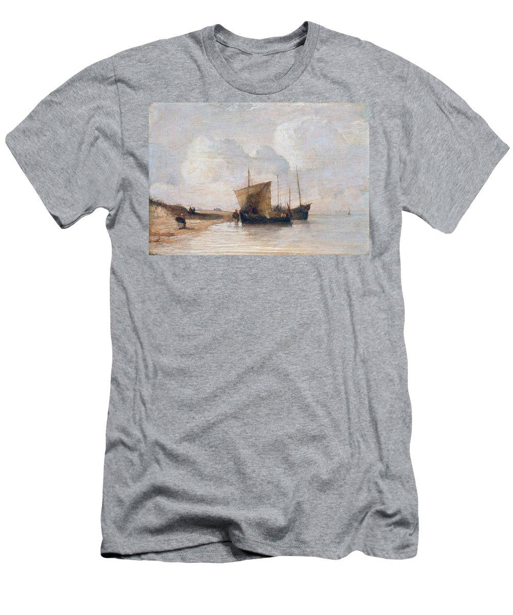 Richard Parkes Bonington - Normandy Coast Ca. Sea Men's T-Shirt (Athletic Fit) featuring the painting Normandy Coast by MotionAge Designs
