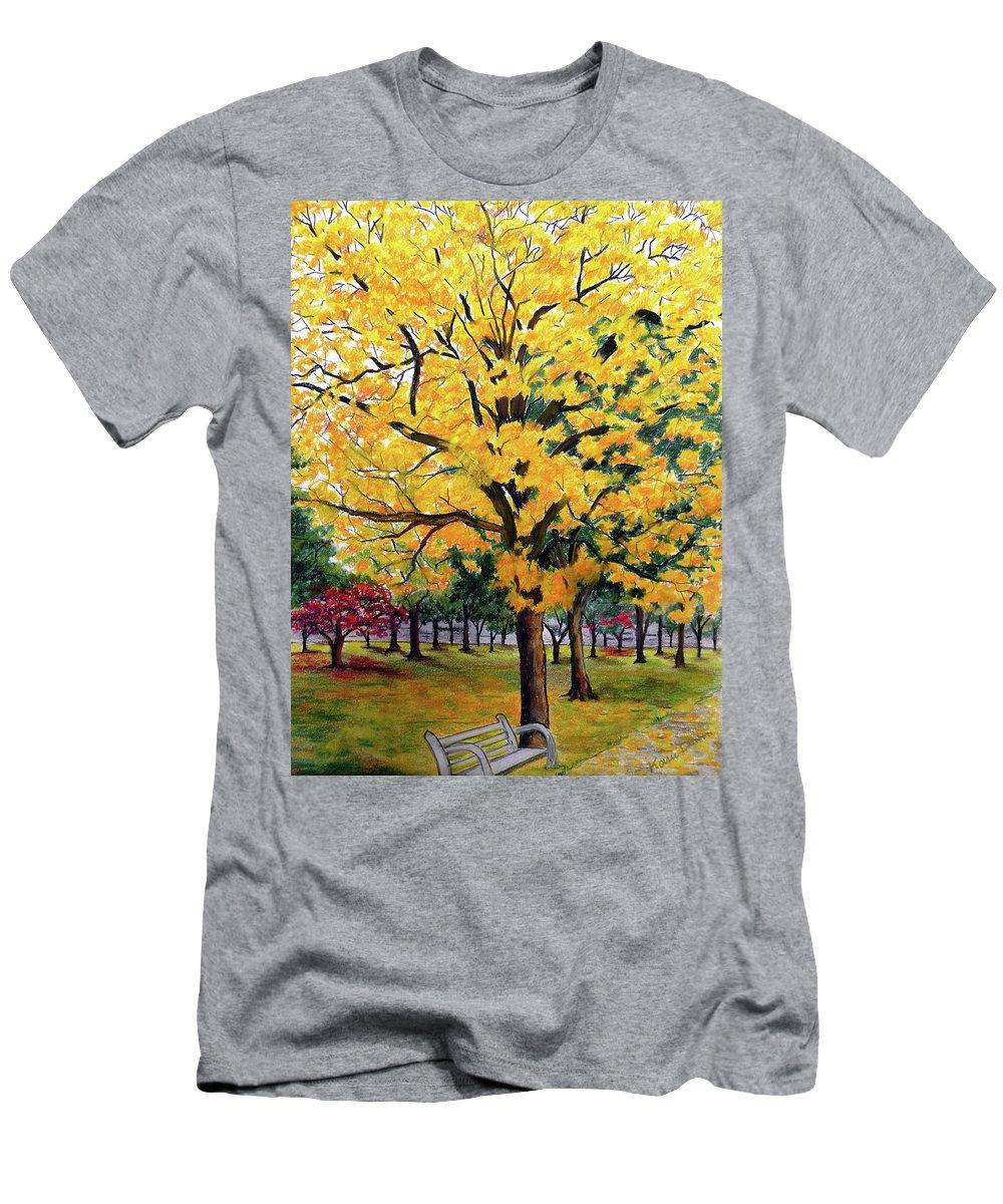 Yellow Poui T-Shirt featuring the pastel North Savannah Poui by Karin Dawn Kelshall- Best