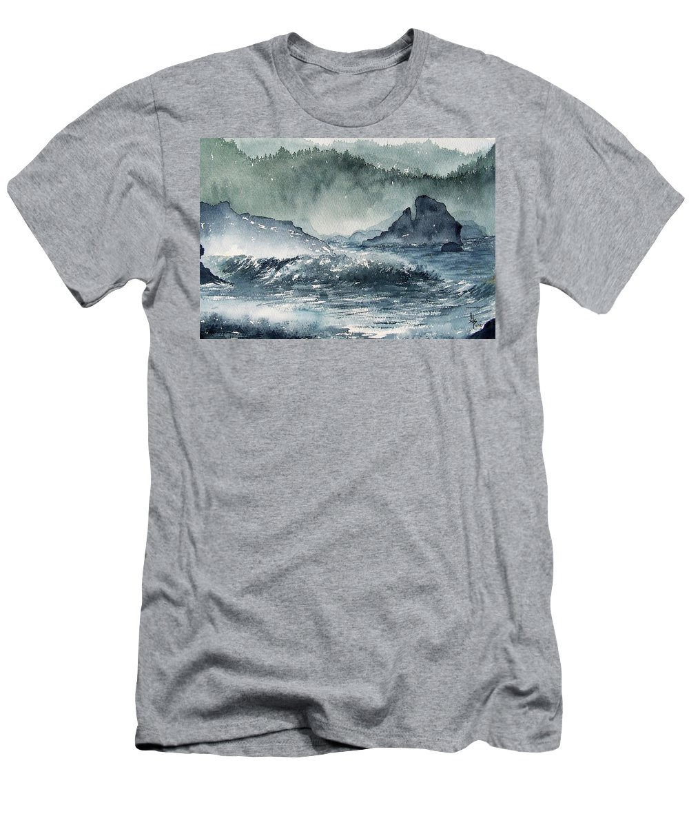 Ocean Men's T-Shirt (Athletic Fit) featuring the painting Northern California Coast by Gale Cochran-Smith