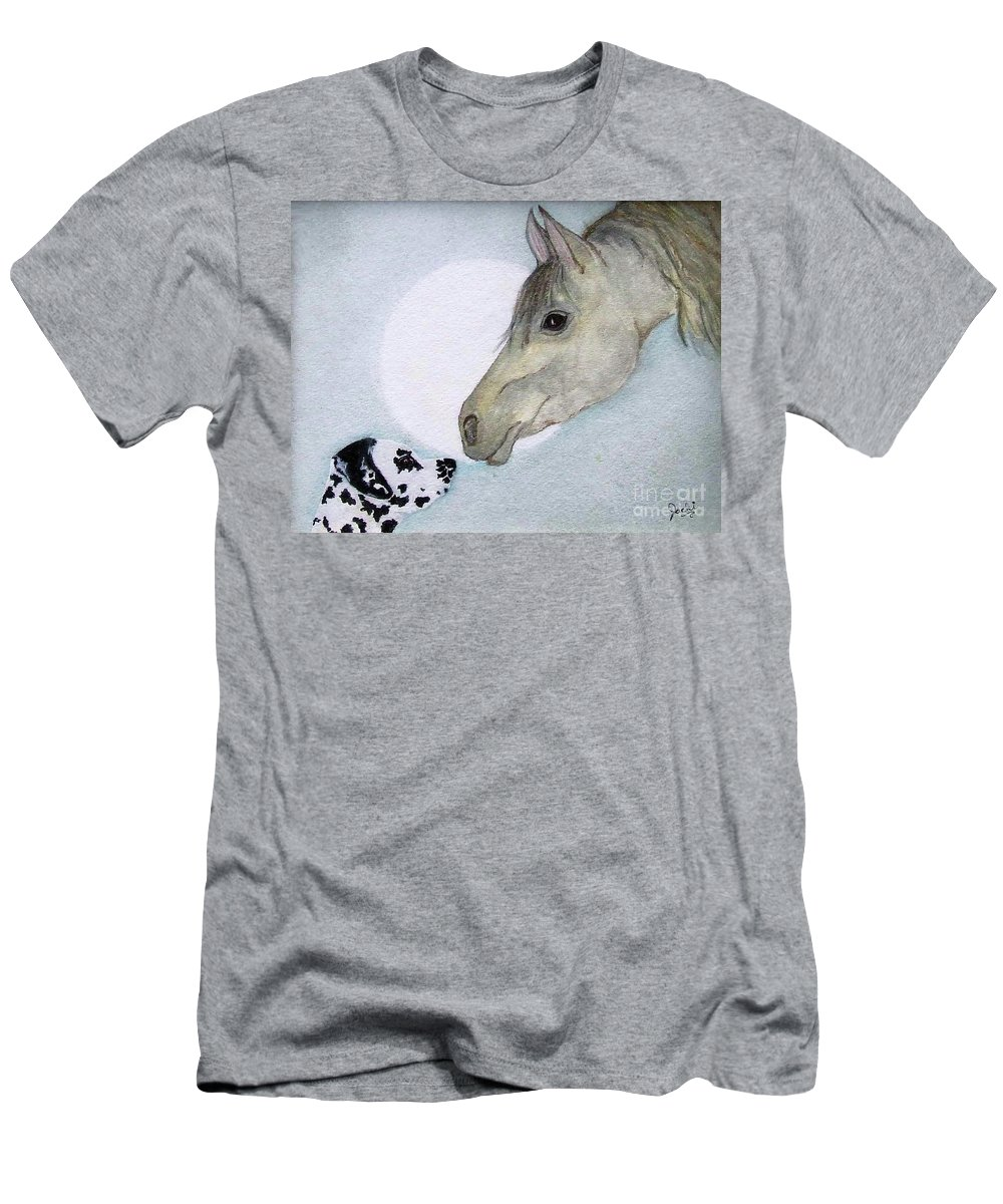 Dog Men's T-Shirt (Athletic Fit) featuring the painting Nose 2 Nose by Jacki McGovern