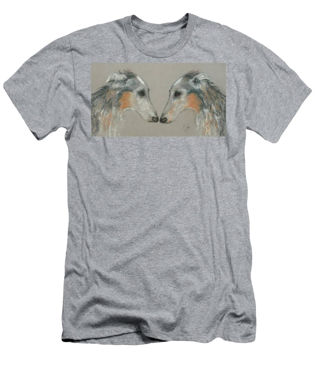 Dog Men's T-Shirt (Athletic Fit) featuring the drawing Nose To Nose by Cori Solomon