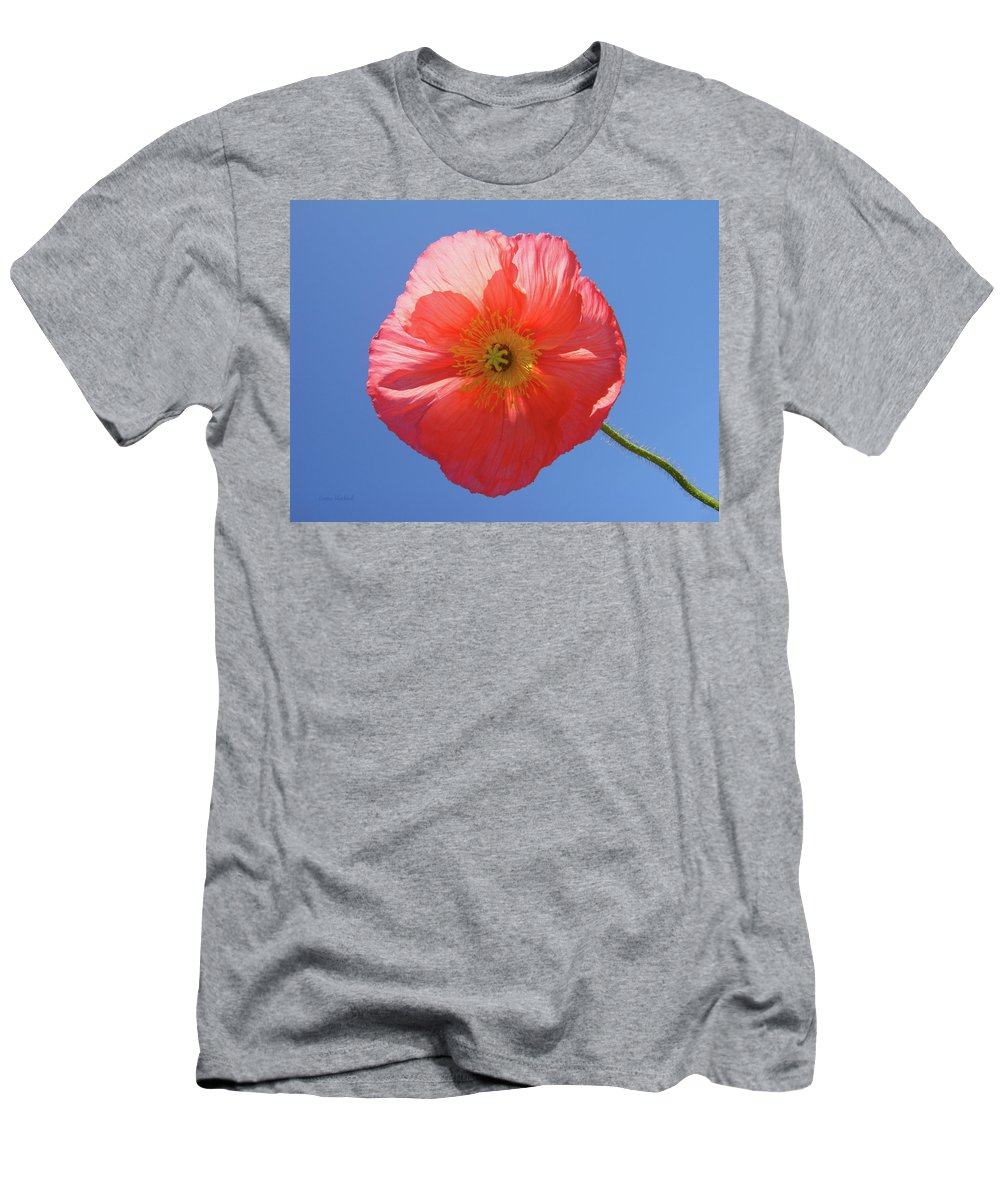 Poppy Men's T-Shirt (Athletic Fit) featuring the photograph Nothing But Blue Skies by Donna Blackhall