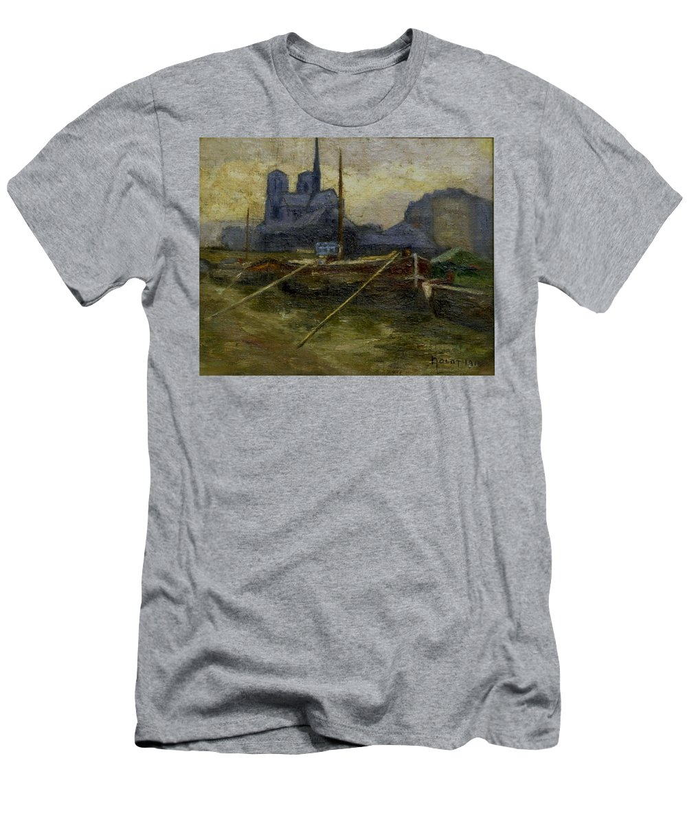 Paris Men's T-Shirt (Athletic Fit) featuring the painting Notre-dame De Paris by Nolot