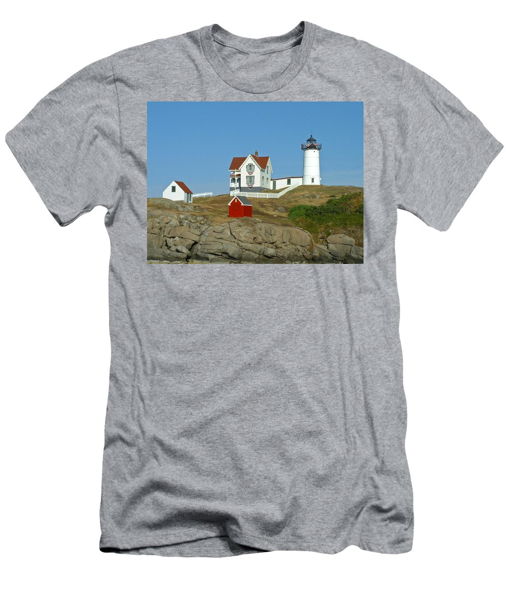 Nubble Men's T-Shirt (Athletic Fit) featuring the photograph Nubble Light by Margie Wildblood