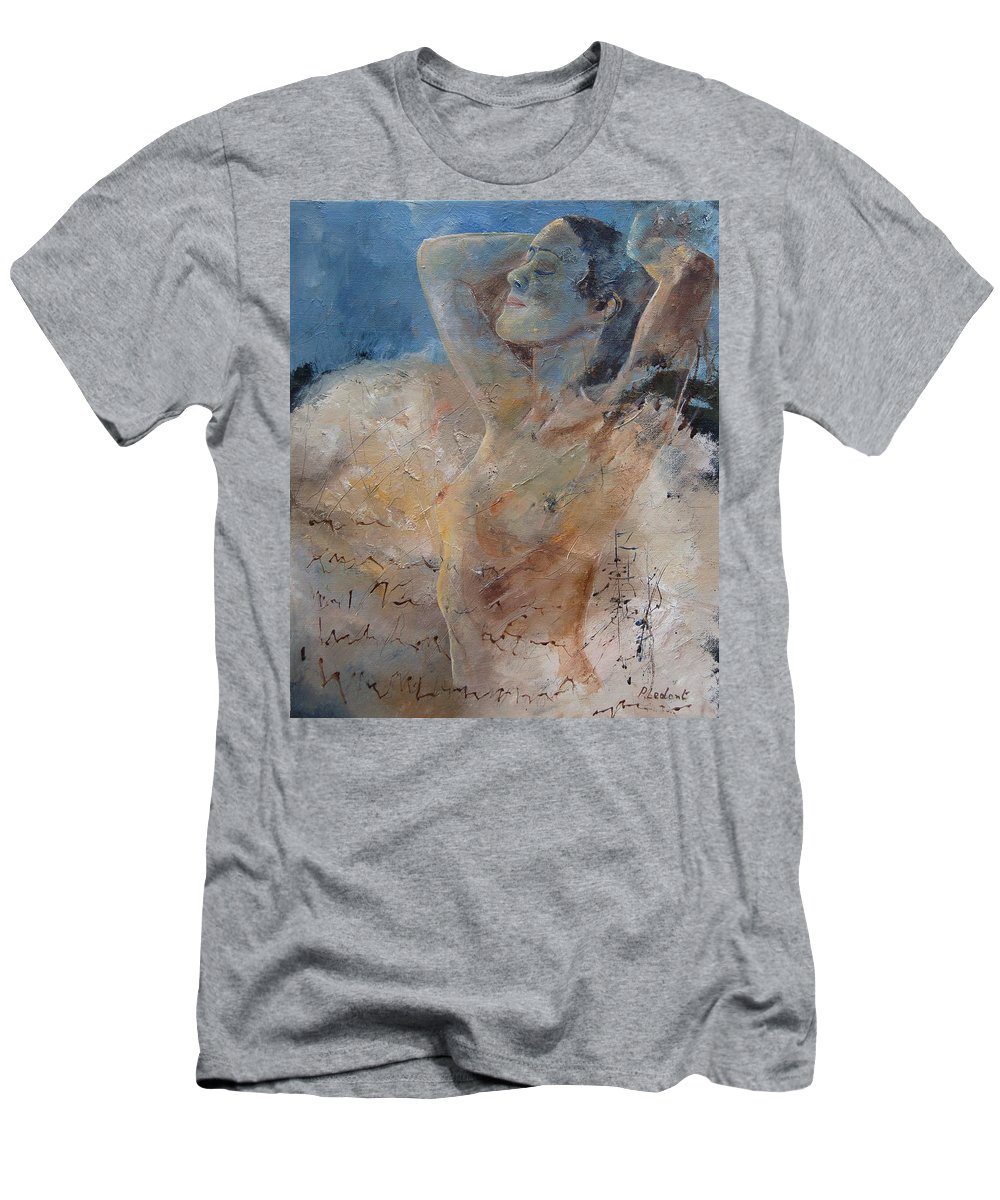 Nude Men's T-Shirt (Athletic Fit) featuring the painting Nude 0508 by Pol Ledent
