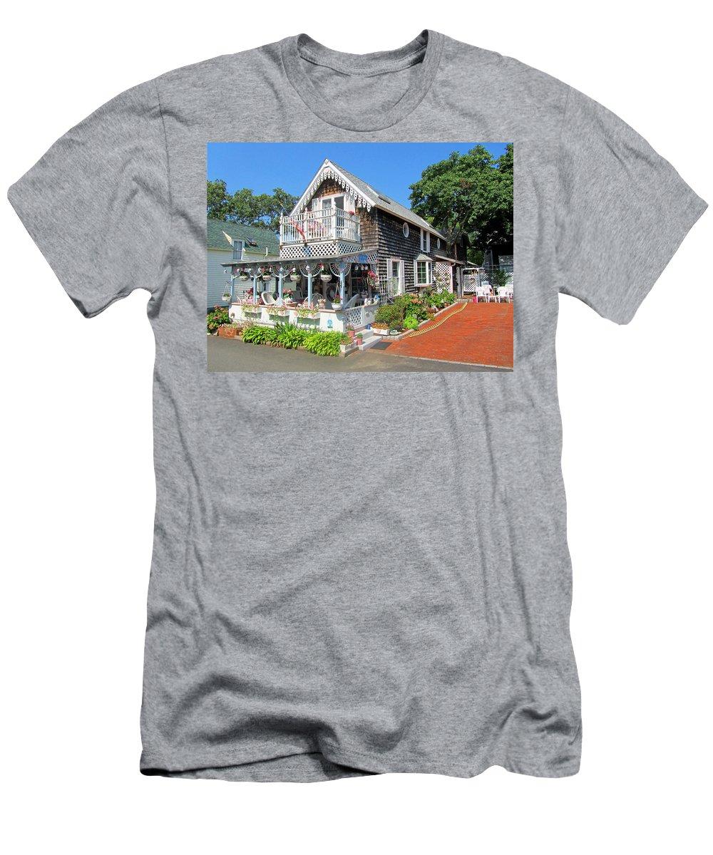 Oak Bluffs Gingerbread Cottages Men's T-Shirt (Athletic Fit) featuring the photograph Oak Bluffs Gingerbread Cottages 8 by Mark Sellers
