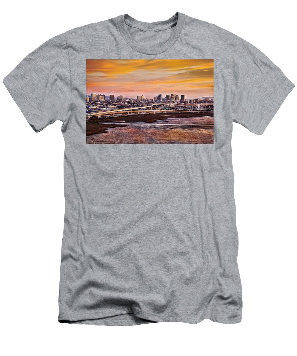 Oakland Men's T-Shirt (Athletic Fit) featuring the photograph Oakland Sunset by Kelley King