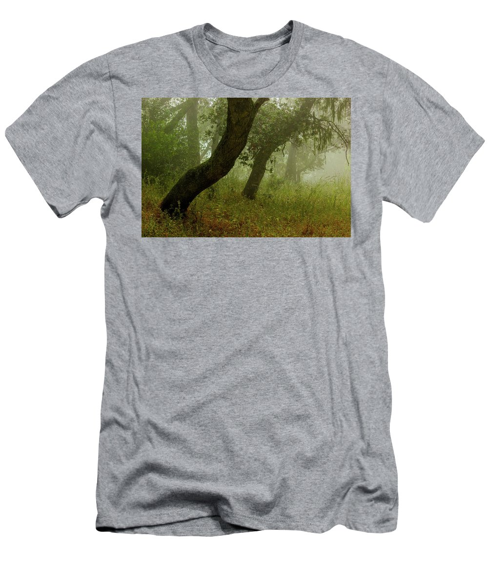 Oaks Men's T-Shirt (Athletic Fit) featuring the photograph Oaks Off The Trail by Joe Azevedo