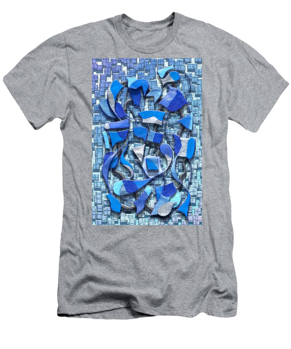 Abstract Men's T-Shirt (Athletic Fit) featuring the digital art Oars And Rudders - Blue by Mark Sellers