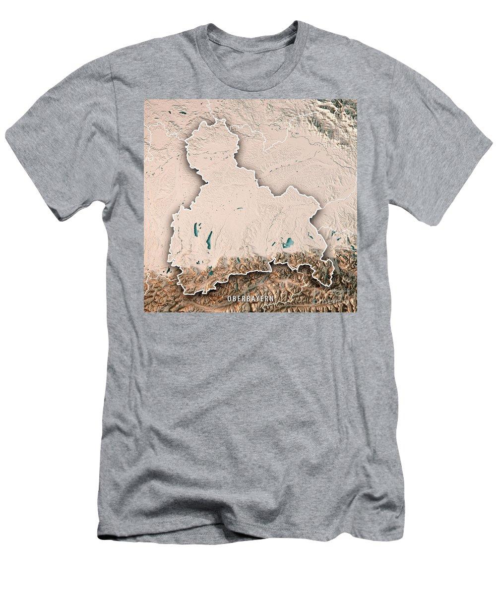 Oberbayern Men's T-Shirt (Athletic Fit) featuring the digital art Oberbayern Regierungsbezirk Bayern 3d Render Topographic Map Neu by Frank Ramspott