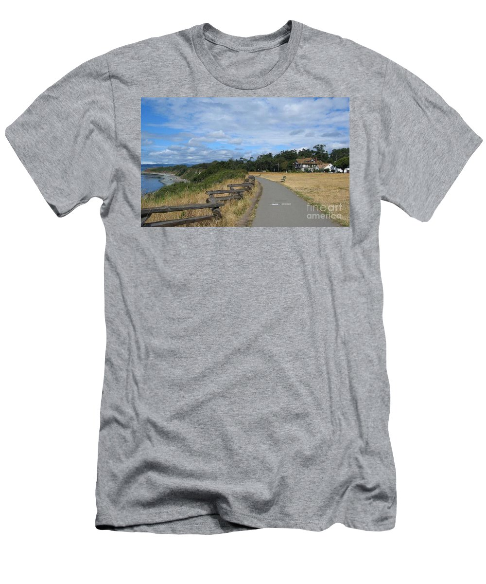 Ocean Men's T-Shirt (Athletic Fit) featuring the painting Ocean Walk Victoria Bc by Rod Jellison