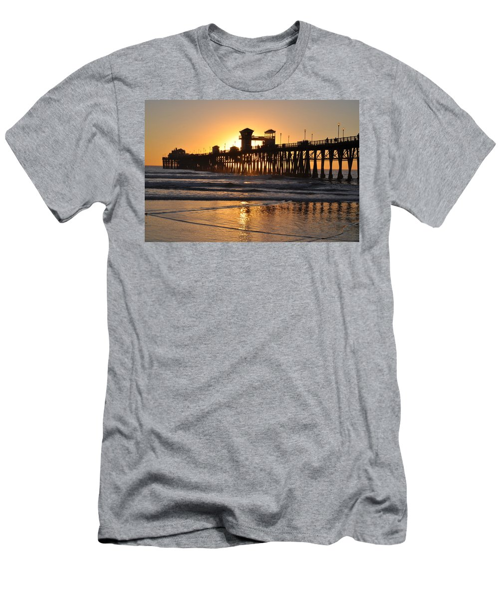 Silhouette Men's T-Shirt (Athletic Fit) featuring the photograph Oceanside Pier by Bridgette Gomes