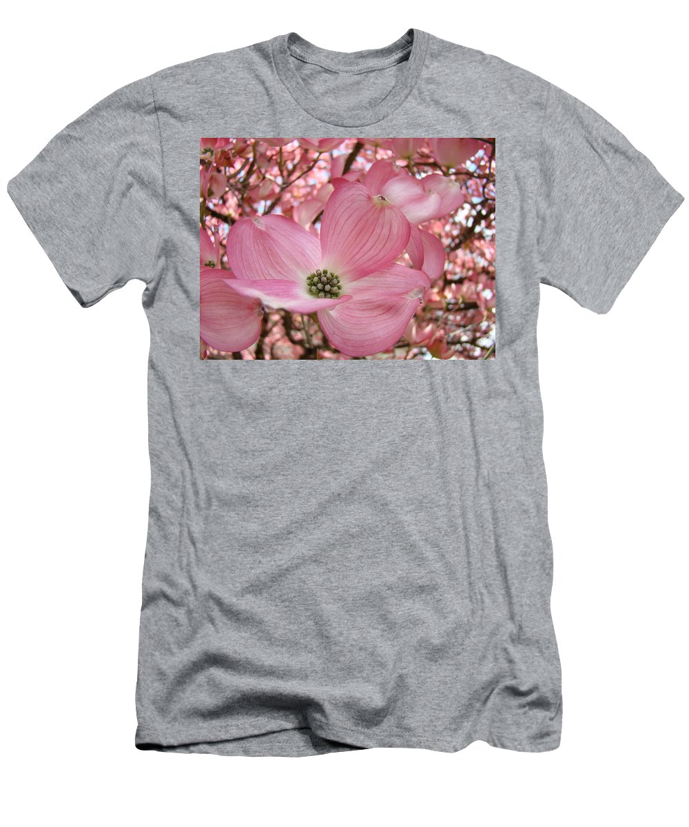 Dogwood Men's T-Shirt (Athletic Fit) featuring the photograph Office Art Prints Pink Flowering Dogwood Tree 1 Giclee Prints Baslee Troutman by Baslee Troutman