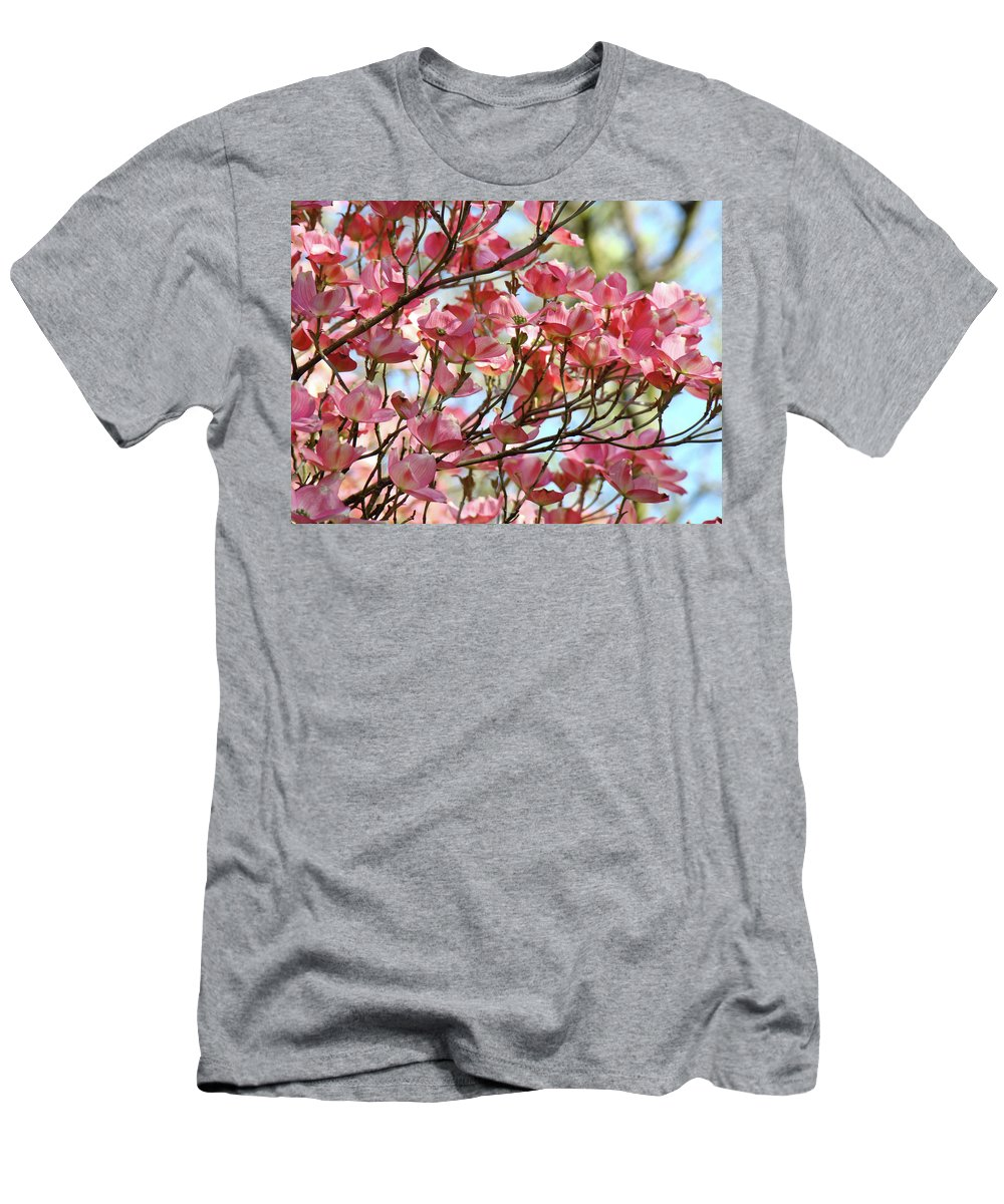 Dogwood Men's T-Shirt (Athletic Fit) featuring the photograph Office Art Prints Pink Flowering Dogwood Trees 18 Giclee Prints Baslee Troutman by Baslee Troutman