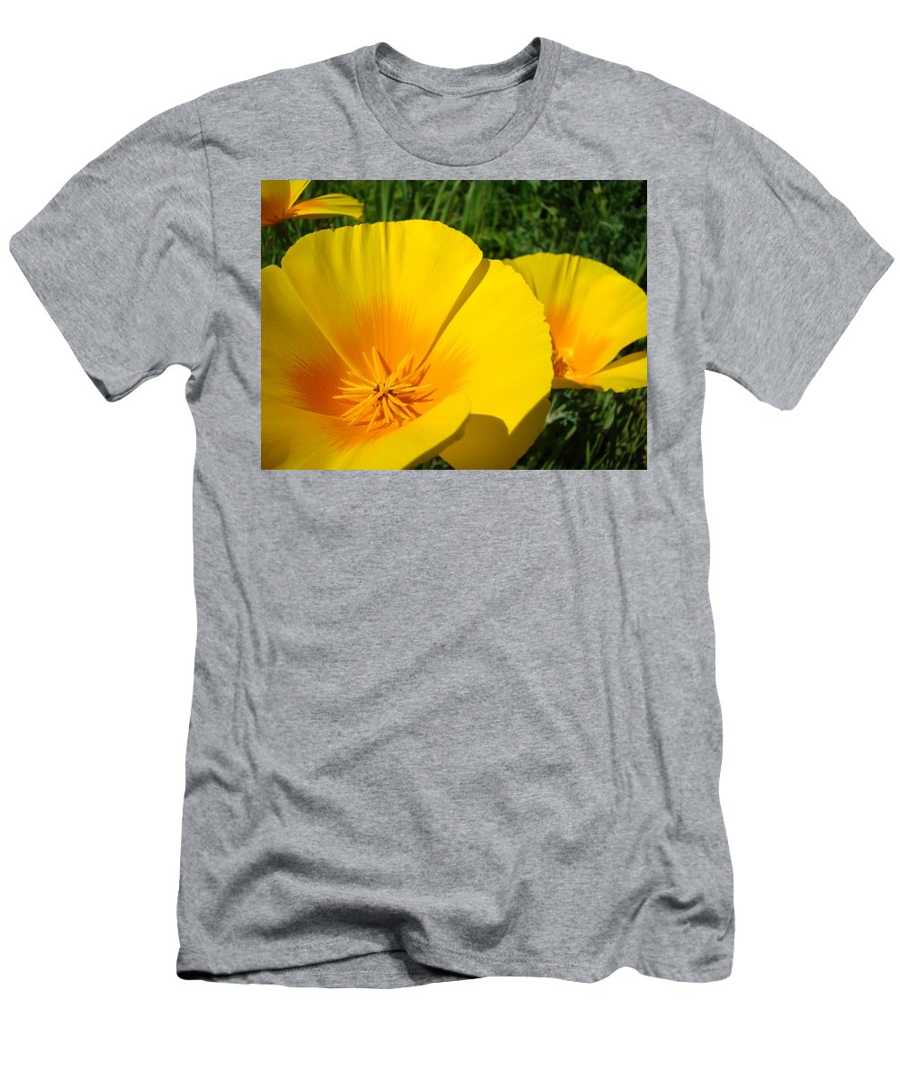 Office Men's T-Shirt (Athletic Fit) featuring the photograph Office Art Prints Poppy Flowers 4 Poppies Giclee Prints Baslee Troutman by Baslee Troutman