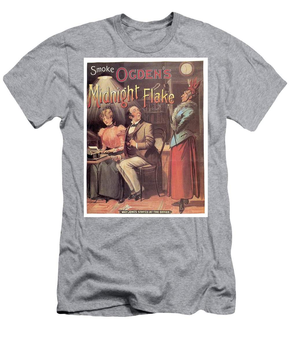 Vintage Men's T-Shirt (Athletic Fit) featuring the mixed media Ogden's Midnight Flake - Tobacco - Vintage Advertising Poster by Studio Grafiikka