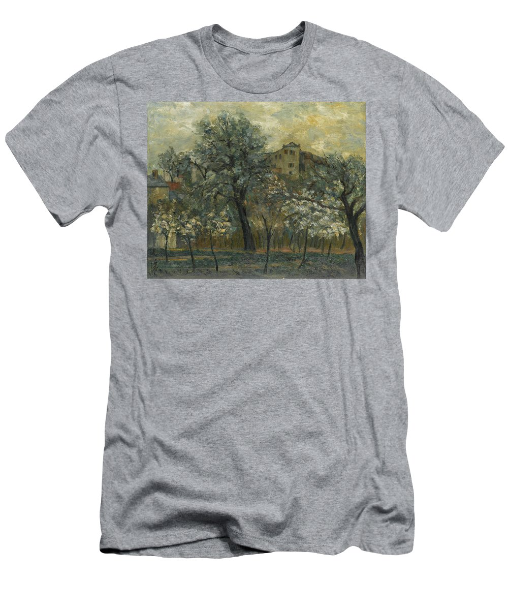 Wang Yachen Men's T-Shirt (Athletic Fit) featuring the painting Oil Painting House Tree by Wang Yachen