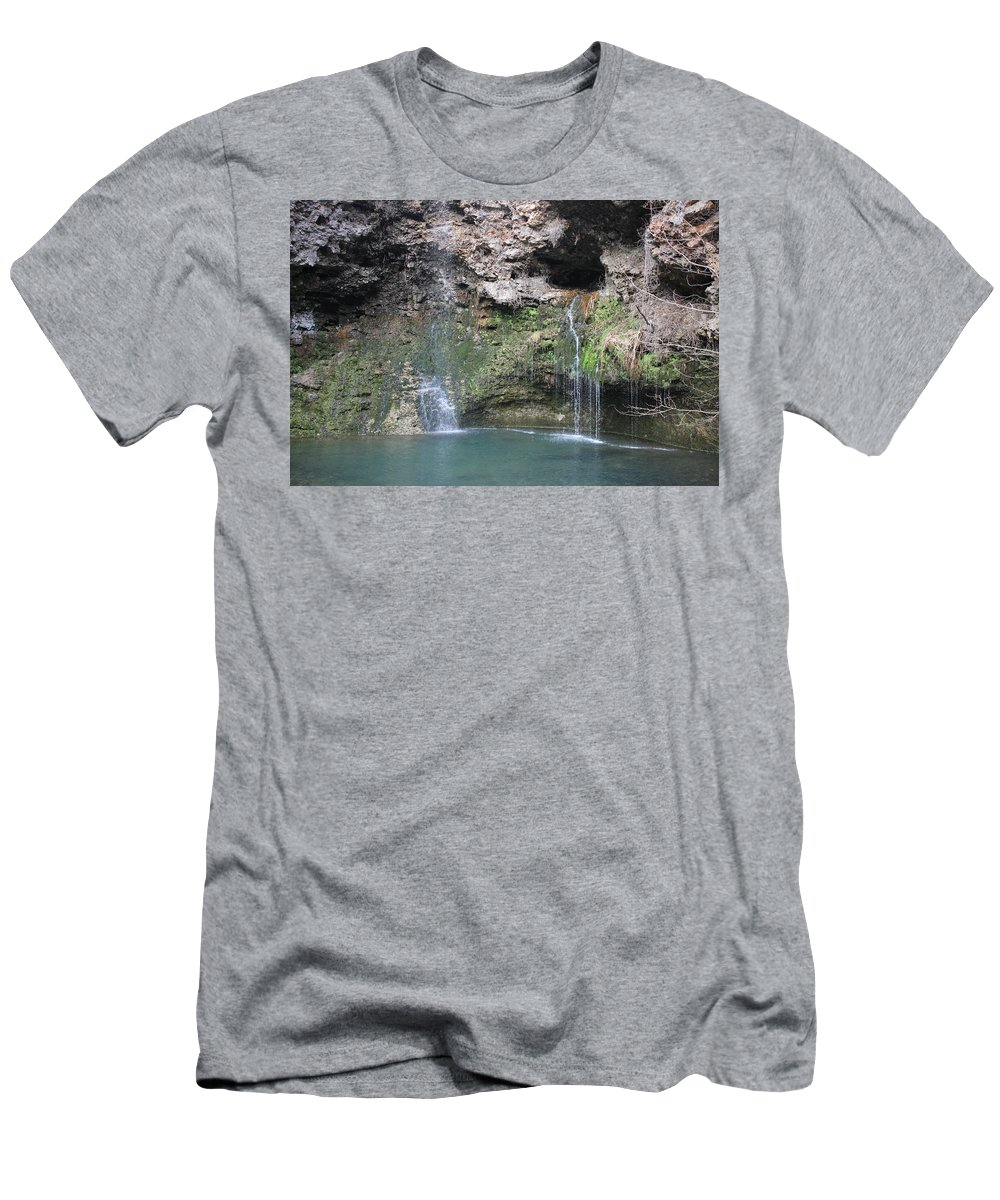 Waterfall Men's T-Shirt (Athletic Fit) featuring the photograph Oklahoma Waterfall by Emily Spivy