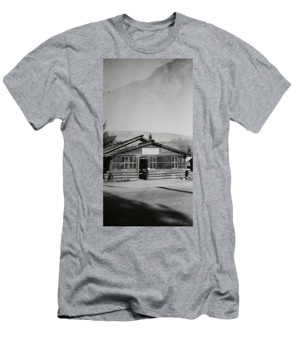 Black And White Photograph Classic Old Cafe Banff Alberta 1950s Diner Log Cabin Men's T-Shirt (Athletic Fit) featuring the photograph Old Cafe by Andrea Lawrence